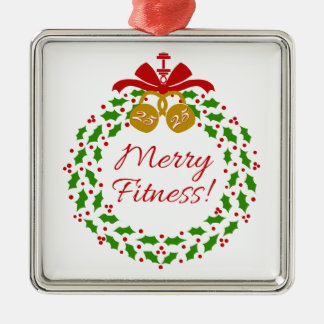 Merry Fitness Wreath Premium Silver Ornament