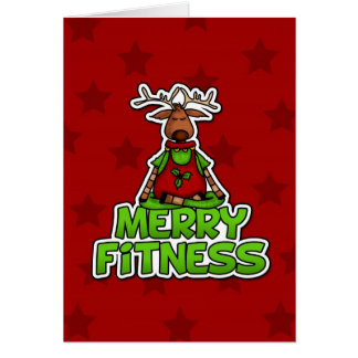 Merry Fitness - Yoga - Reindeer in Lotus Posture Card
