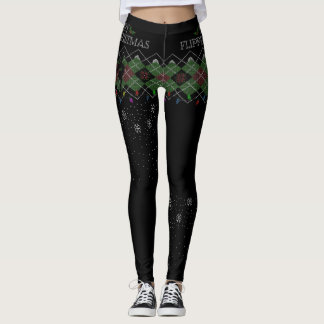 "Merry Flippin' Christmas Argyle ""Sweater"" Leggings"