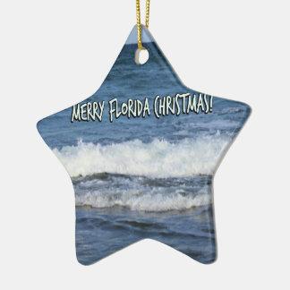 Merry Florida Christmas Over The Ocean Ceramic Ornament