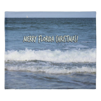 Merry Florida Christmas Over The Ocean Duvet Cover