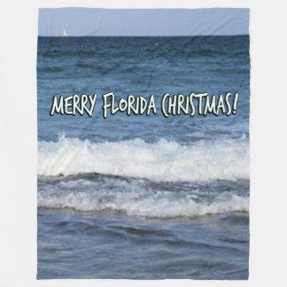 Merry Florida Christmas Over The Ocean Fleece Blanket
