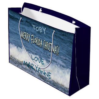 Merry Florida Christmas Over The Ocean Personalize Large Gift Bag