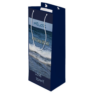 Merry Florida Christmas Over The Ocean Personalize Wine Gift Bag