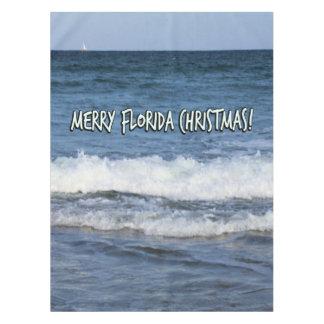 Merry Florida Christmas Over The Ocean Tablecloth