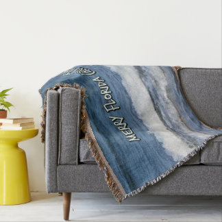Merry Florida Christmas Over The Ocean Throw Blanket