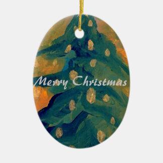 Merry Folk Art Christmas Tree Holiday Decor 2 Ceramic Oval Ornament