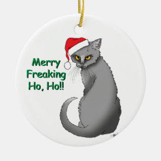 Merry Freaking Ho Ho Round Ceramic Ornament