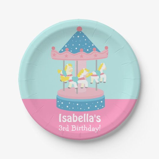 Merry Go Round Carousel Girls Birthday Party 7 Inch Paper Plate