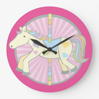 Merry-Go-Round Carousel Pony in Pink Clock