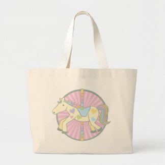 Merry-Go-Round Carousel Pony in Pink Large Tote Bag