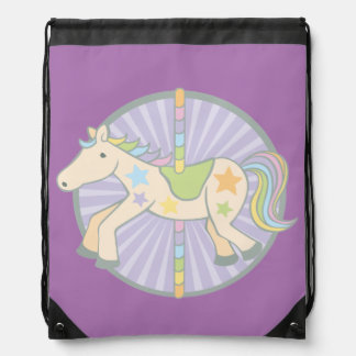 Merry-Go-Round Carousel Pony in Purple Drawstring Backpack