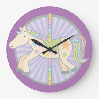 Merry-Go-Round Carousel Pony in Purple Wall Clock