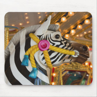 Merry-Go-Round Carousel Ride Zebra Horse Mouse Pad