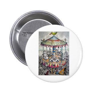Merry-go-round with clowns 2 inch round button