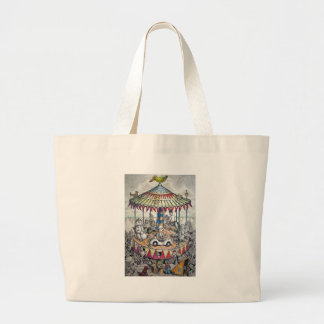 Merry-go-round with clowns large tote bag