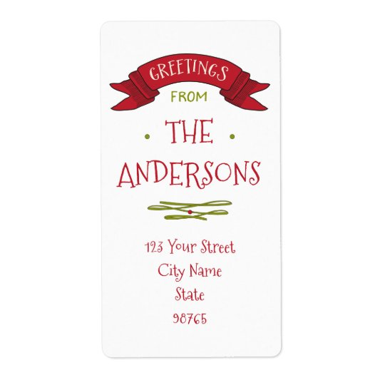Merry Greetings Red Banner Return Address Shipping Label