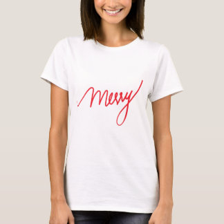 Merry | Hand Lettered Chic Christmas T-Shirt