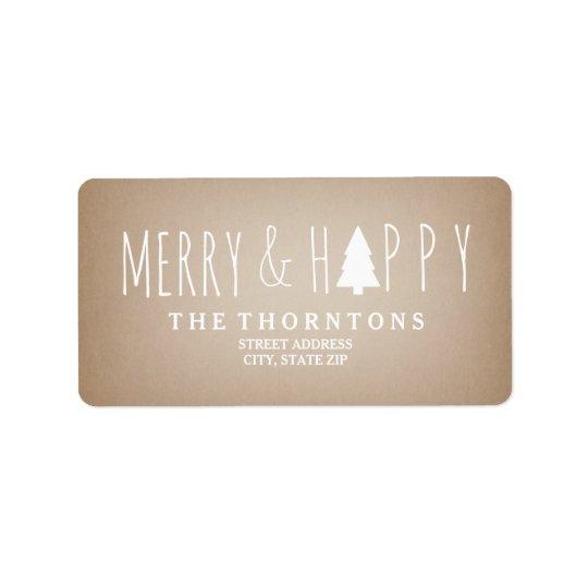 Merry & Happy Cardstock Christmas Tree Address