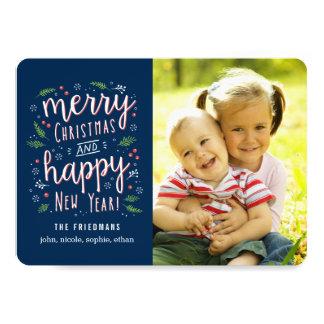 "Merry Happy Editable Colour Holiday Photo Cards 5"" X 7"" Invitation Card"