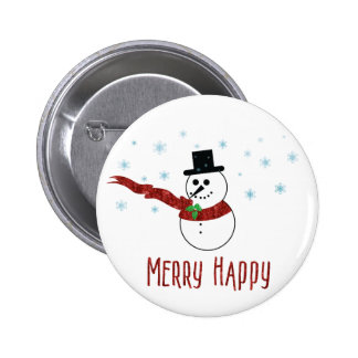 Merry Happy Snowman with Red Scarf 2 Inch Round Button