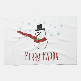 Merry Happy Snowman with Red Scarf Kitchen Towel