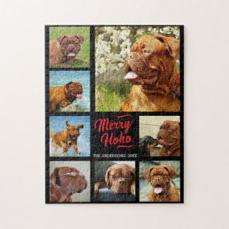 Merry Ho Ho Family Photo Collage Template Jigsaw Puzzle