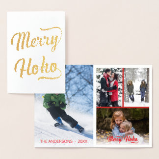 Merry Ho Ho Red Christmas 4 Photo Collage Foil Card