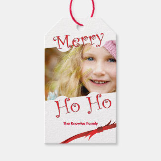 Merry Ho Ho Red Ribbon Personalized Photo Template Pack Of Gift Tags
