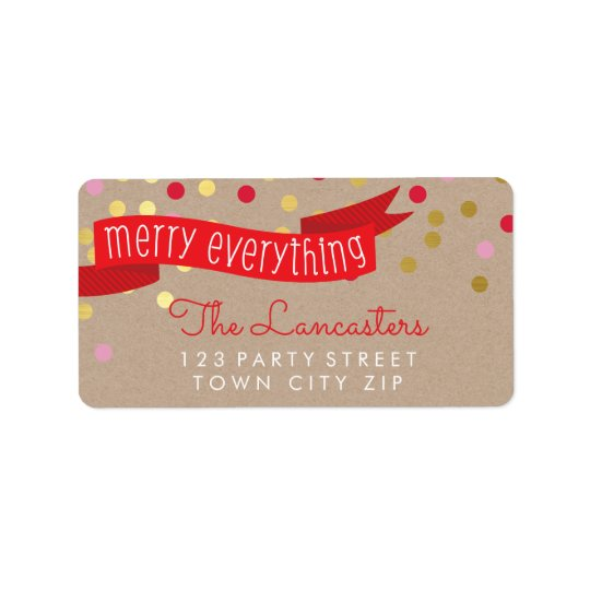MERRY HOLIDAY BANNER stylish gold confetti kraft Label