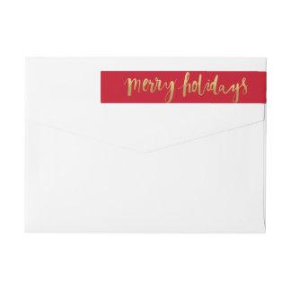 Merry Holidays Elegant Gold Script Custom Red Wraparound Return Address Label