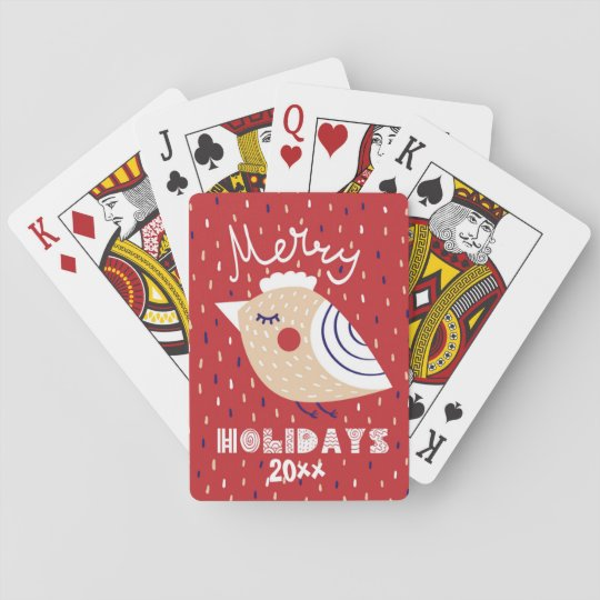 Merry Holidays Modern Partridge Design on Red Playing Cards