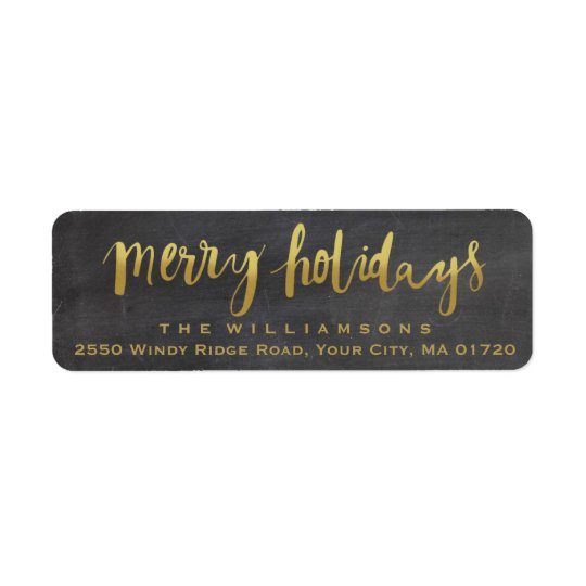 Merry Holidays Trendy Gold Script Chalkboard