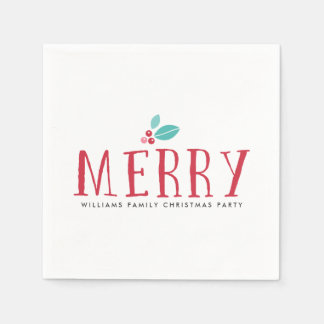 Merry Holly Berries Christmas Disposable Napkins