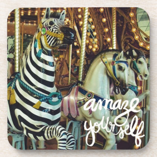 Merry Horse and Zebra Amaze Yourself Beverage Coaster