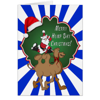 Merry Hump Day Christmas Camel Blue Starburst Cards