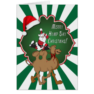 Merry Hump Day Christmas Camel Green Starburst Greeting Cards