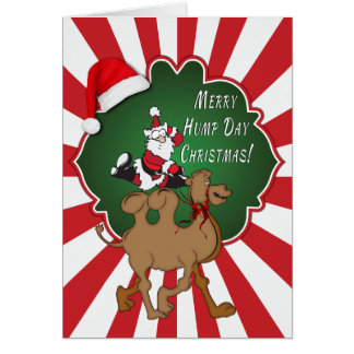 Merry Hump Day Christmas Camel Red Starburst Greeting Cards
