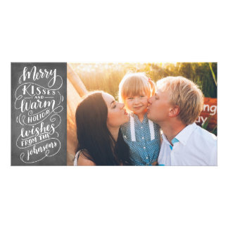 Merry Kisses Holiday Wishes Typography Photo Card