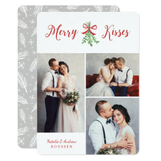 Merry Kisses Three Photo Holiday Card