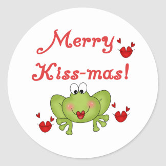 Merry Kissmas Frog Holidays Christmas Classic Round Sticker