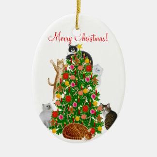 Merry Kitty Cat Christmas Ornament