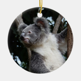 merry koala-mas round ceramic ornament