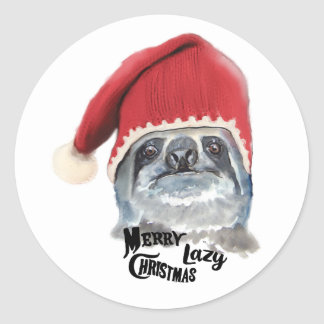 Merry Lazy Christmas Classic Round Sticker