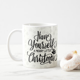 Merry Little Christmas Black Script Pattern Mug