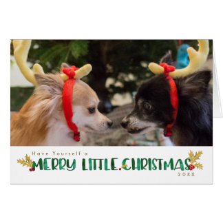 Merry Little Christmas Dog Lover Watercolor Holly Card