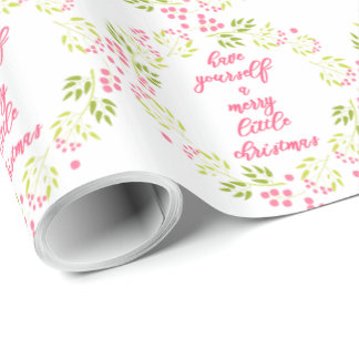 Merry little Christmas - Elegant Flower Wreath Wrapping Paper