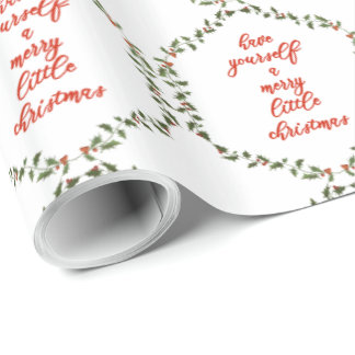 Merry little Christmas - Elegant Holly Wreath Wrapping Paper