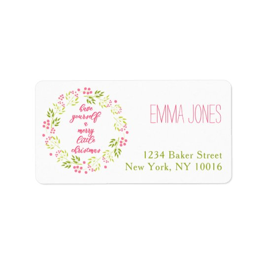 Merry Little Christmas Floral Wreath Address Label