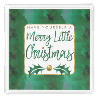 Merry Little Christmas Gold Green Watercolor Acrylic Tray
